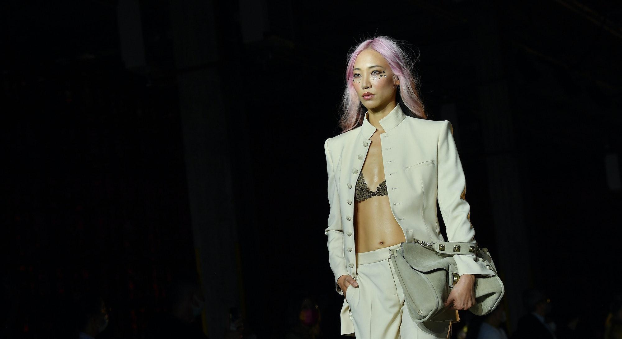 Soo Joo walks the runway at the Etro Spring 2022 fashion show during the Milan Fashion Week - Sprin...