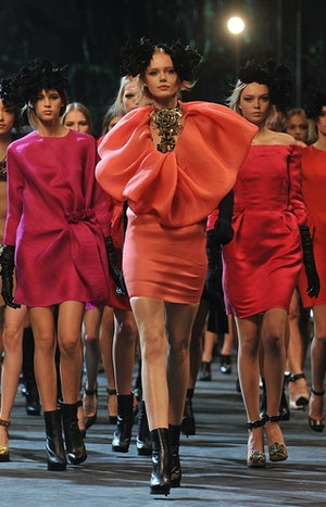Models walk the runway during the Lanvin Ready to Wear Autumn/Winter 2011/2012 show during Paris Fas...