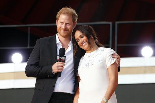 NEW YORK, NEW YORK - SEPTEMBER 25: Prince Harry, Duke of Sussex and Meghan, Duchess of Sussex speak ...