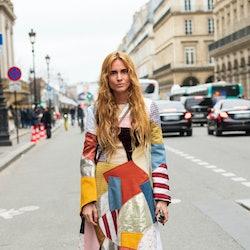 PARIS, FRANCE - FEBRUARY 28: Fashion Director Blanca Miró Scrimieri wears a Prada dress and Ganni bo...
