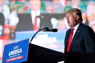 PERRY, GA - SEPTEMBER 25: Former US President Donald Trump speaks at a rally on September 25, 2021 i...