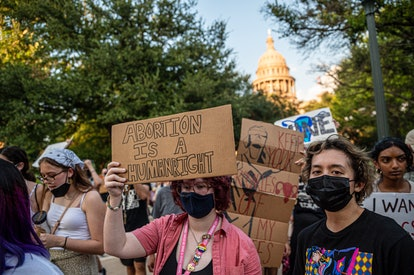 Pro-choice protesters march outside the Texas State Capitol on Wednesday, Sept. 1, 2021.