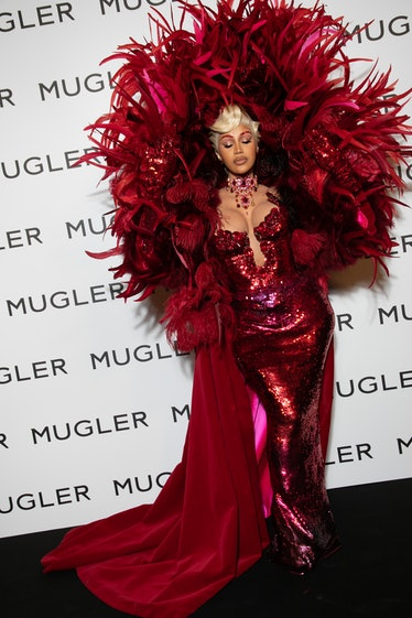 """PARIS, FRANCE - SEPTEMBER 28: Cardi B. attends the """"Thierry Mugler : Couturissime"""" Photocall as part..."""