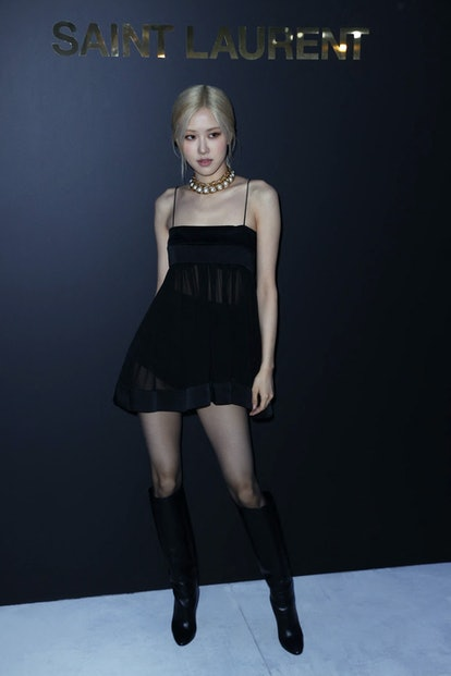 New Zealand's singer Rose Park poses during a photocall ahead of Yves Saint-Laurent Womenswear Sprin...