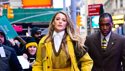 Blake Lively wearing boots to Good Morning America in New York City in January 2020.
