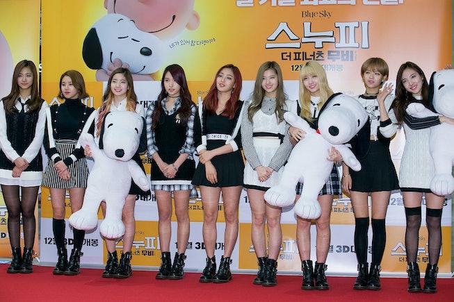 "SEOUL, SOUTH KOREA - NOVEMBER 24:  Girl group TWICE attend the photocall for ""The Peanuts Movie"" Seo..."
