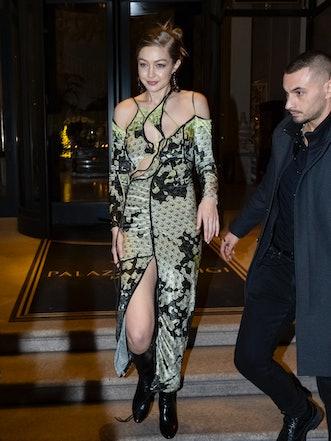 MILAN, ITALY - FEBRUARY 21: Gigi Hadid is seen during Milan Fashion Week Fall/Winter 2020-2021 on Fe...