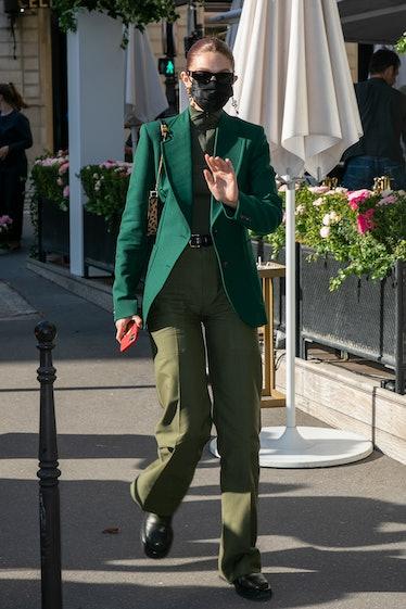 PARIS, FRANCE - SEPTEMBER 28: Model Gigi Hadid is seen leaving the 'L'Avenue' restaurant on Septembe...