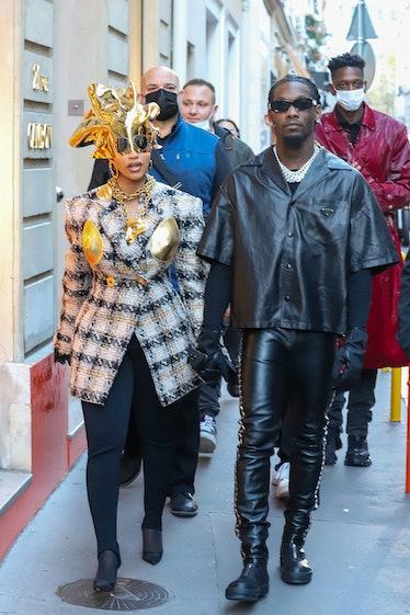 PARIS, FRANCE - SEPTEMBER 29: Singer Cardi B and Offset are seen on September 29, 2021 in Paris, Fra...