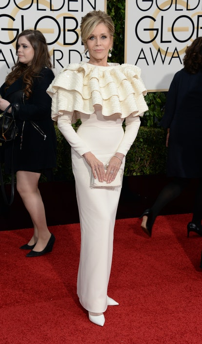 Jane Fonda arrives at 73rd Annual Golden Globe Awards event in Los Angeles, California in January 20...