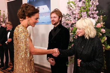 """LONDON, ENGLAND - SEPTEMBER 28: Catherine, Duchess of Cambridge meets the """"No Time To Die"""" Performer..."""