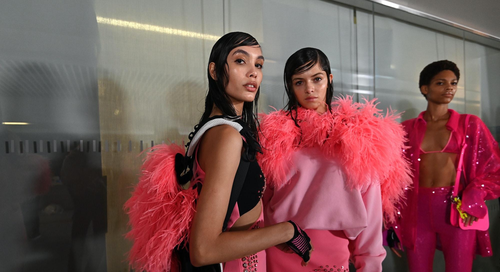 Models backstage ahead of the David Koma show during London Fashion Week September 2021 on September...
