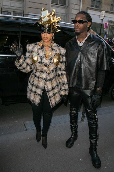 PARIS, FRANCE - SEPTEMBER 29: Singer Cardi B. and Offset are seen on September 29, 2021 in Paris, Fr...