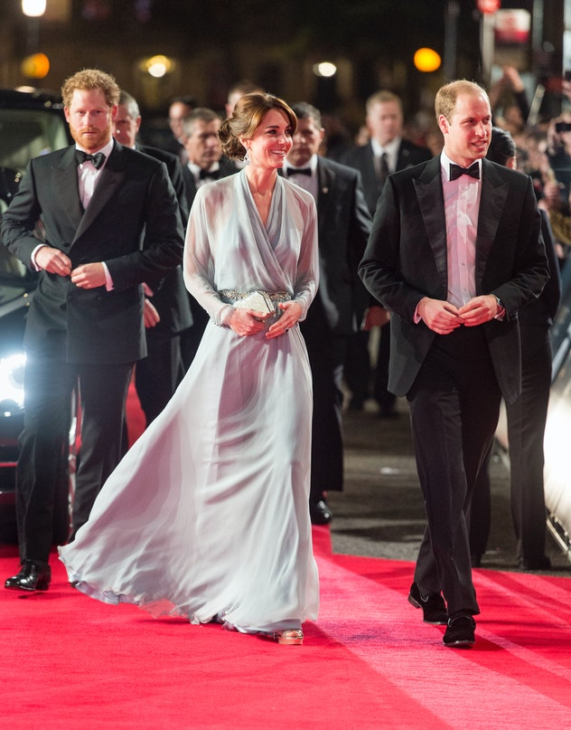 Prince Harry joined Kate Middleton and Prince William at a movie premiere in 2015.