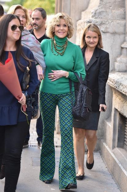 Jane Fonda arrives to the Jane Fonda Master Class at the 10th Film Festival Lumierex in Lyon, France...