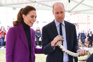 LONDONDERRY, NORTHERN IRELAND - SEPTEMBER 29: Catherine, Duchess of Cambridge observes as Prince Wil...