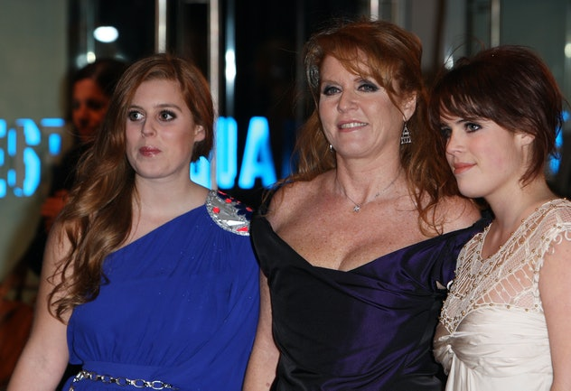 Princesses Eugenie and Beatrice joined their mom at a movie premiere in 2009.