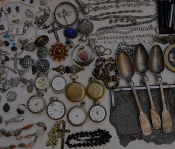 MADRID, SPAIN - SEPTEMBER 26: Several antique objects in a stall at El Rastro, on 26 September, 2021...