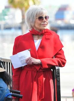 Jane Fonda onstage at Greenpeace USA Brings Fire Drill Fridays To California at San Pedro City Hall ...