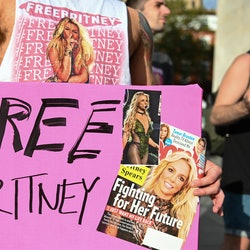 NEW YORK, NEW YORK - SEPTEMBER 29: Britney Spears supporters gather to protest at the #FreeBritney R...