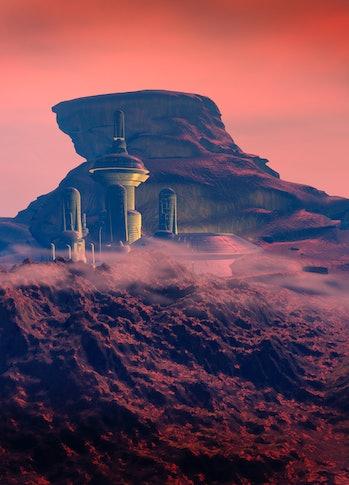 Colonised Mars. Computer artwork of a city on Mars.