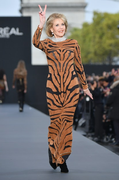 Jane Fonda walks the runway during the Le Defile L'Oreal Paris show as part of the Paris Fashion Wee...
