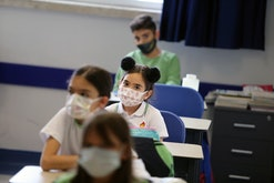 Students wearing masks study in a classroom of a school in Ankara, Turkey, Sept. 21, 2021. (Photo by...
