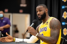 El Sugundo, CA - September 28:Lakers LeBron James at Lakers media day Tuesday, September 28, 2021.  ...