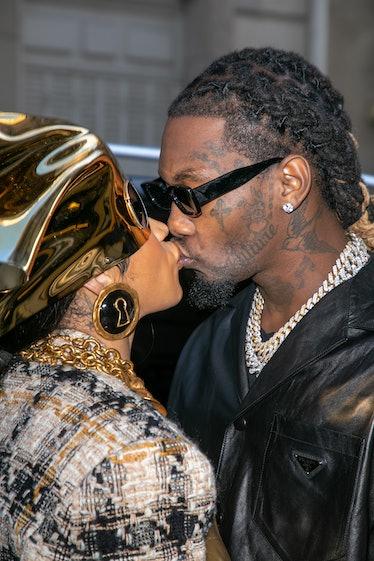 PARIS, FRANCE - SEPTEMBER 29: Singer Cardi B. and Offset are seen kissing on September 29, 2021 in P...