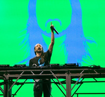 CHICAGO, ILLINOIS - JULY 29: DJ Steve Aoki performs Lollapalooza at Grant Park on July 29, 2021 in C...