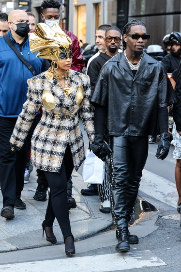 PARIS, FRANCE - SEPTEMBER 29: Cardi B and Offset are seen walking from a Chanel store to a Dior stor...