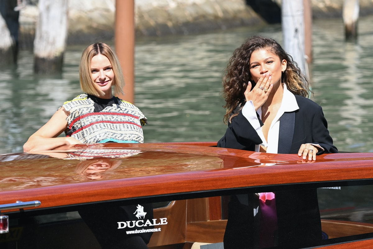 VENICE, ITALY - SEPTEMBER 03: Rebecca Ferguson and Zendaya are seen arriving at the 78th Venice Inte...