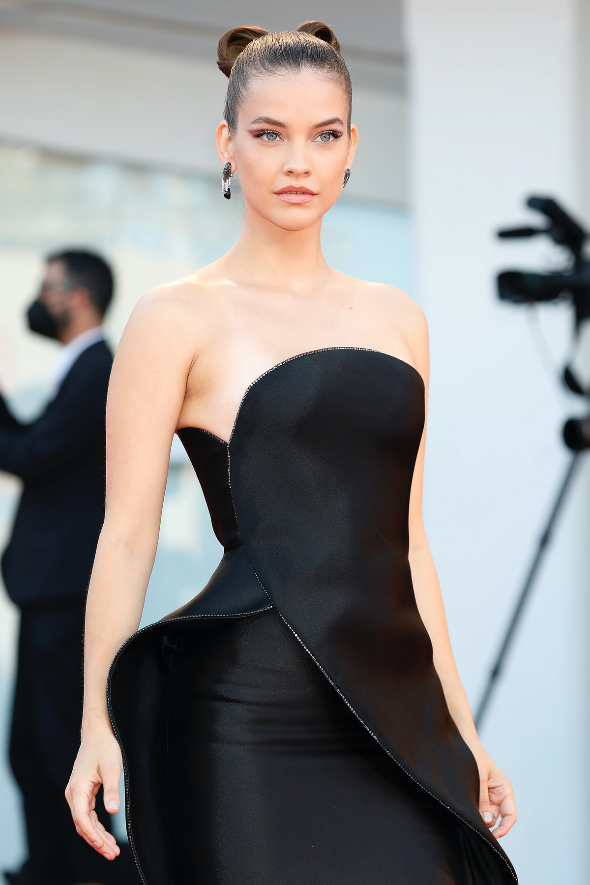 VENICE, ITALY - SEPTEMBER 01, 2021: Barbara Palvin arrives at the red carpet of 'Madres Parallels' a...