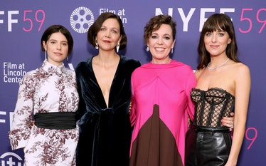 NEW YORK, NEW YORK - SEPTEMBER 29: (L-R) Jessie Buckley, Maggie Gyllenhaal, Olivia Colman, and Dakot...