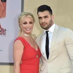 """HOLLYWOOD, CALIFORNIA - JULY 22: Britney Spears and Sam Asghari attend the Los Angeles premiere of """"..."""