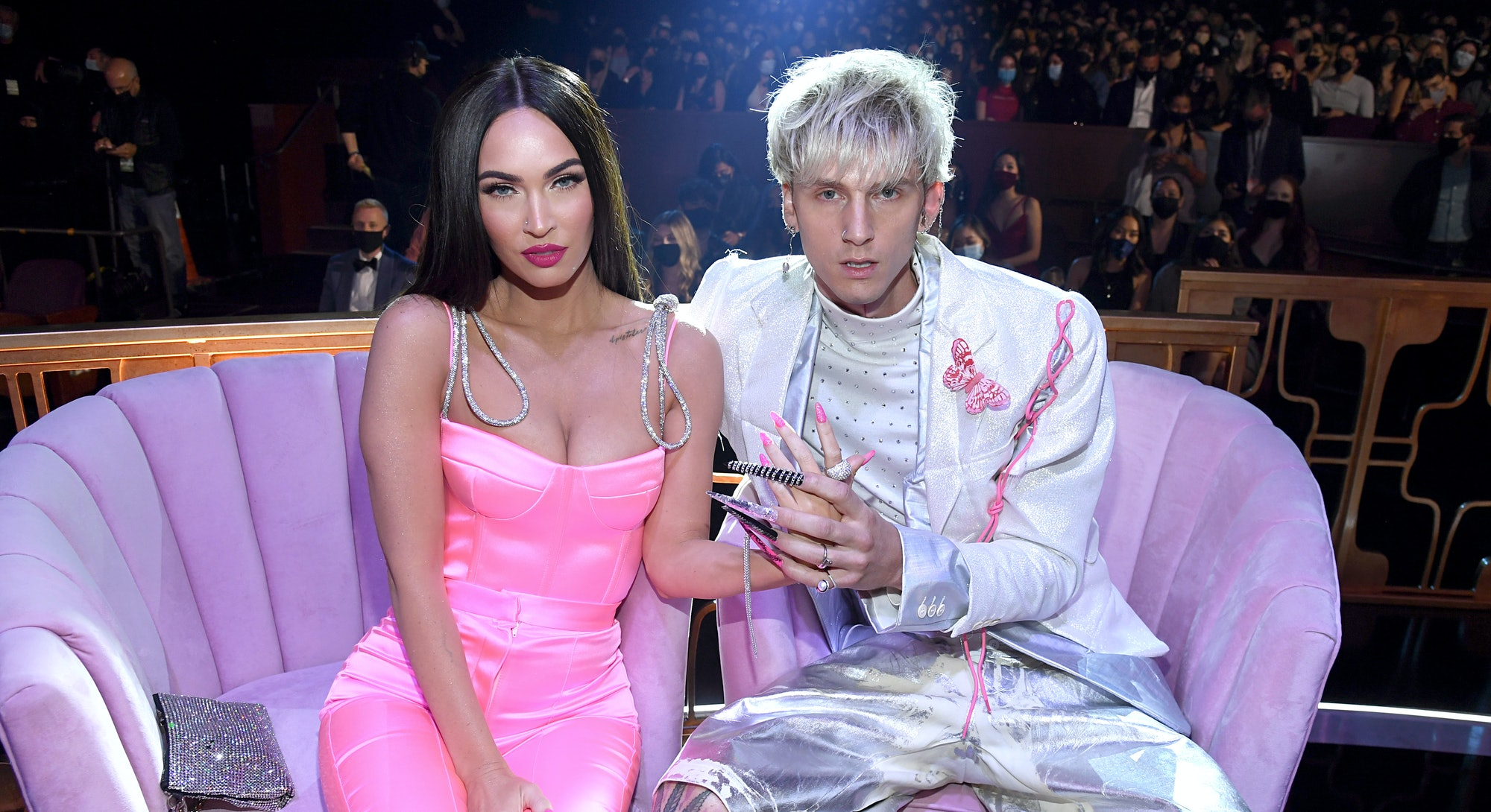 LOS ANGELES, CALIFORNIA - MAY 27: (EDITORIAL USE ONLY) (L-R) Megan Fox and Machine Gun Kelly attend ...