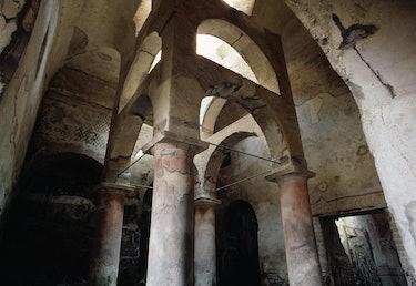 ITALY - SEPTEMBER 27: Vestibule of the Suburban Thermae, Herculaneum (UNESCO World Heritage List, 19...