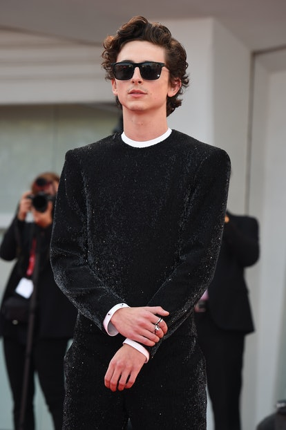 """VENICE, ITALY - SEPTEMBER 03:  Timothée Chalamet attends the red carpet of the movie """"Dune"""" during t..."""