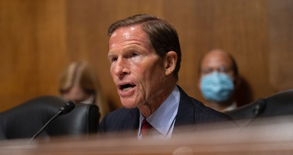 WASHINGTON, DC - SEPTEMBER 21: U.S. Sen. Richard Blumenthal D-CT asks questions to witnesses as they...