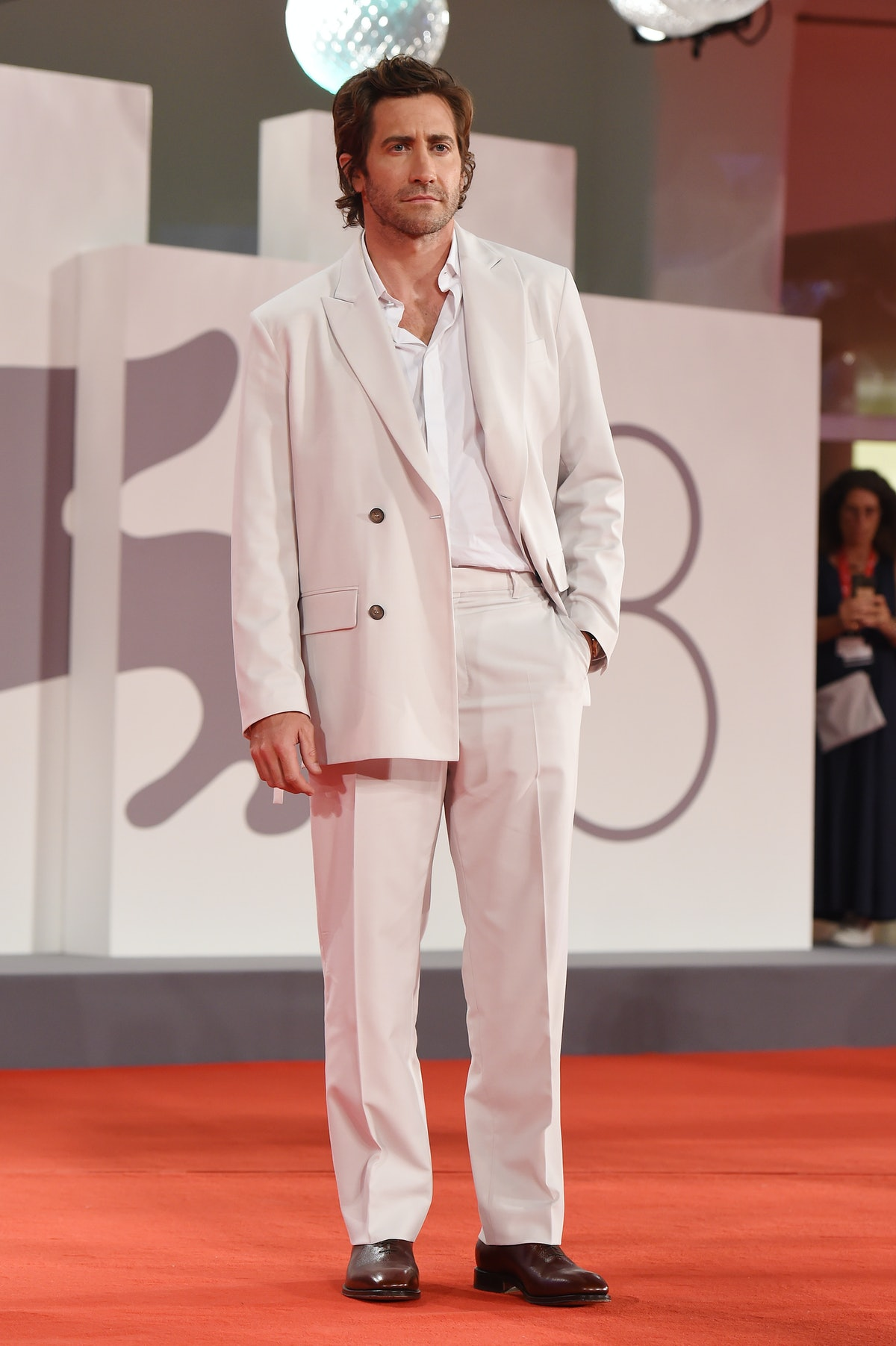 """VENICE, ITALY - SEPTEMBER 03:   Jake Gyllenhaal attends the red carpet of the movie """"The Lost Daught..."""