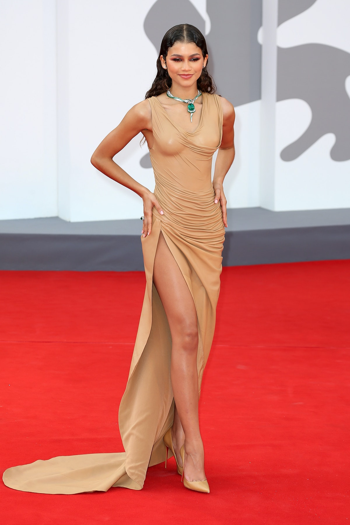 """VENICE, ITALY - SEPTEMBER 03: Zendaya attends the red carpet of the movie """"Dune"""" during the 78th Ven..."""
