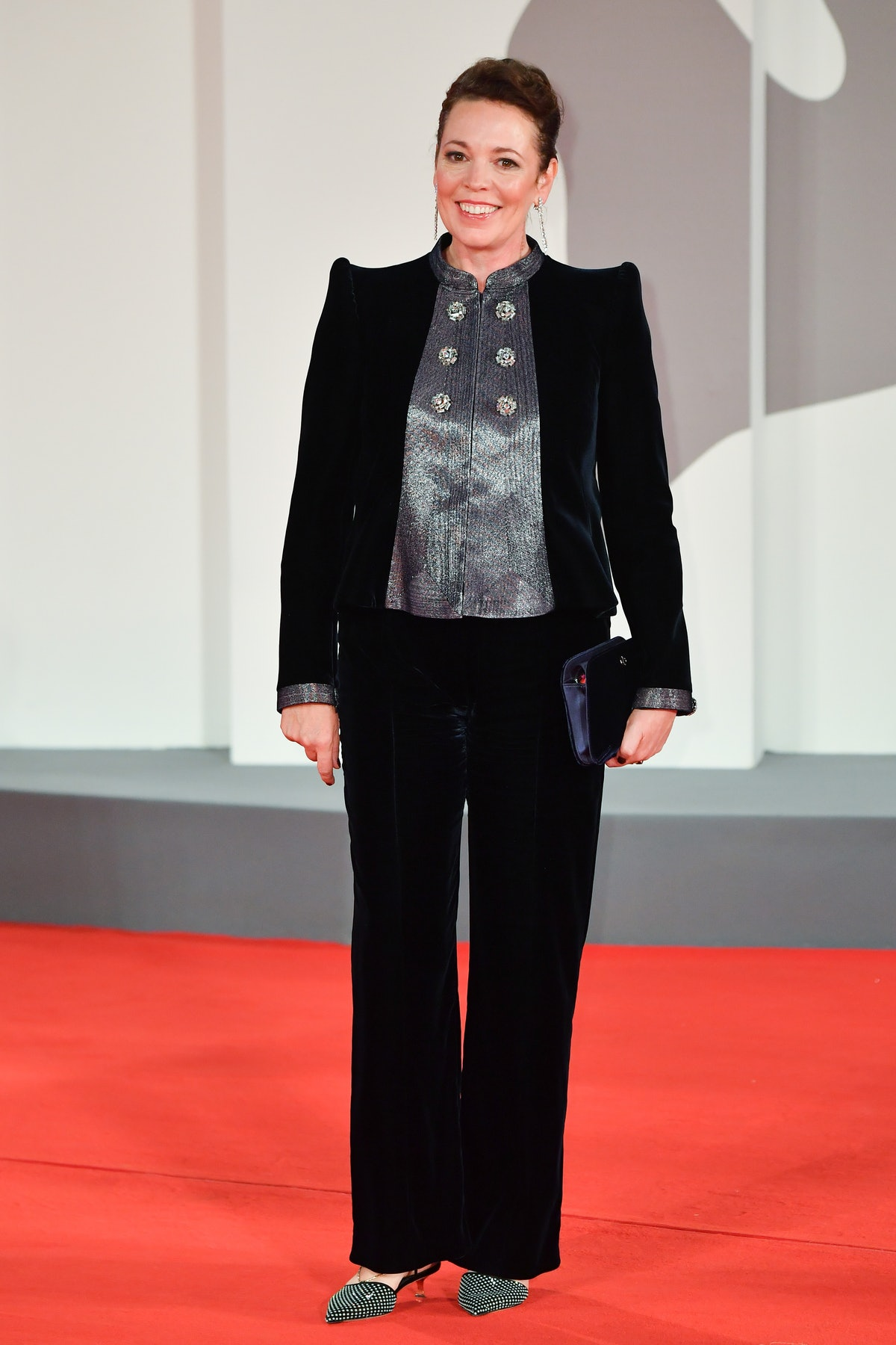 """VENICE, ITALY - SEPTEMBER 03: Olivia Colman attends the red carpet of the movie """"The Lost Daughter"""" ..."""