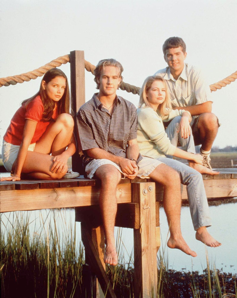 """386157 02: The cast of television's """"Dawson's Creek"""" poses for a photo in 1997. From left to right a..."""