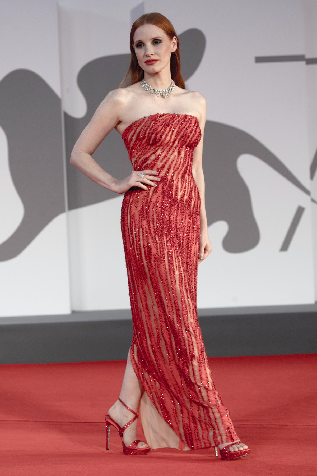 """VENICE, ITALY - SEPTEMBER 04: Jessica Chastain  attends  the red carpet premiere of """"Scenes From a M..."""
