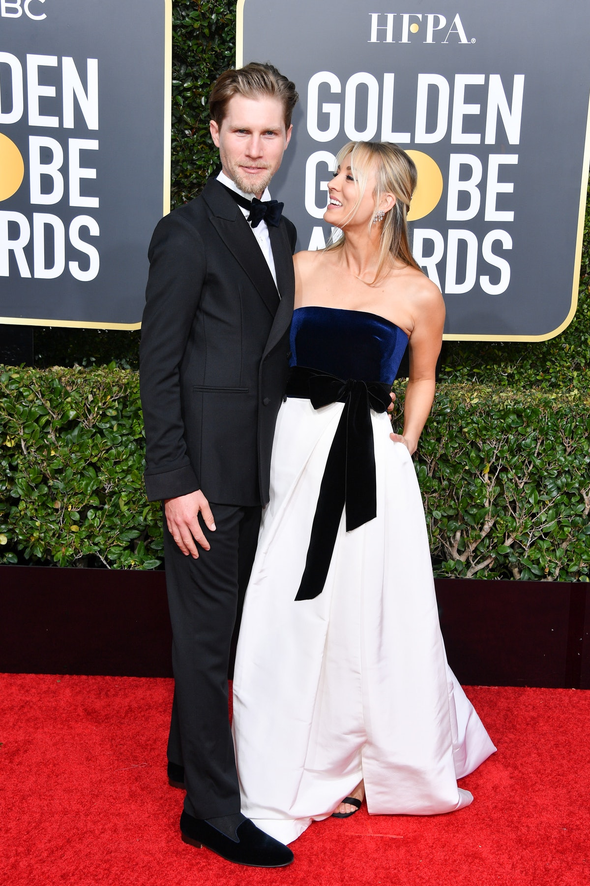 Equestrian Karl Cook and actress Kaley Cuoco attend the 76th Annual Golden Globe Awards held at The ...