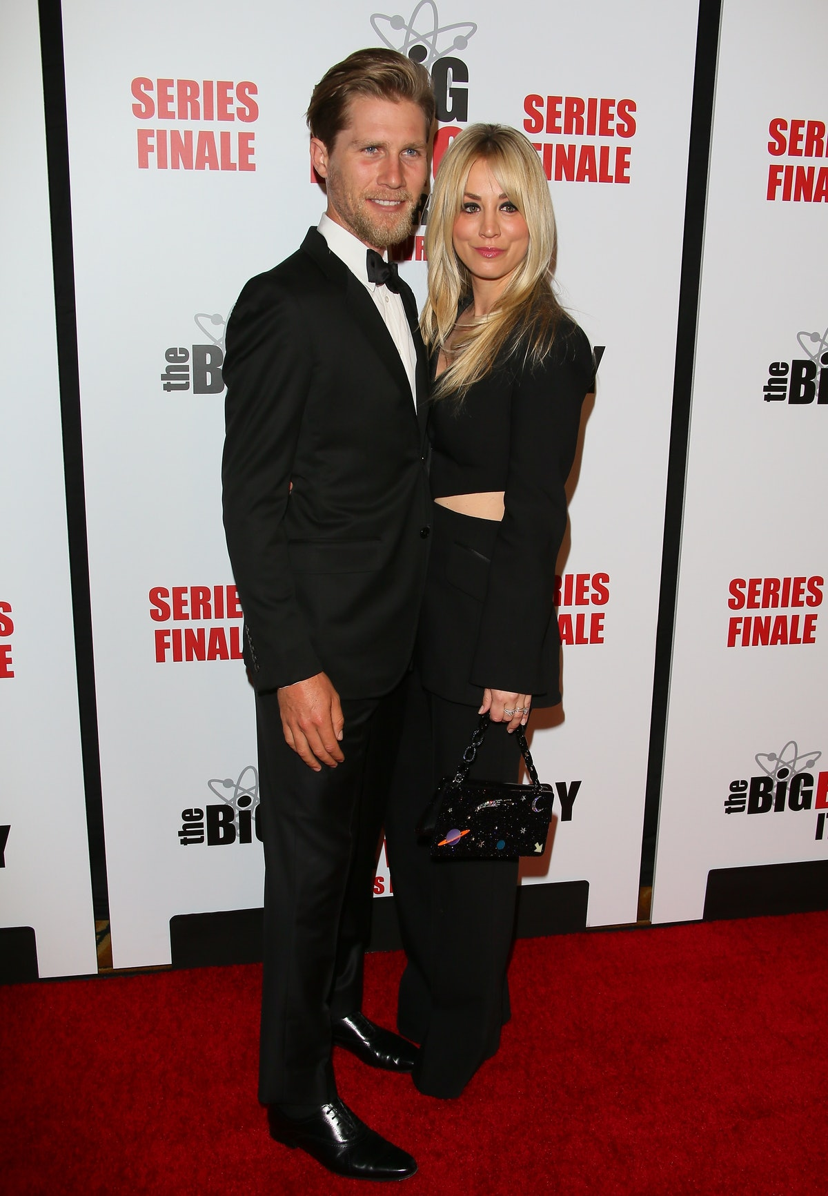 """PASADENA, CALIFORNIA - MAY 01: Kaley Cuoco and Karl Cook attend series finale party for CBS' """"The Bi..."""