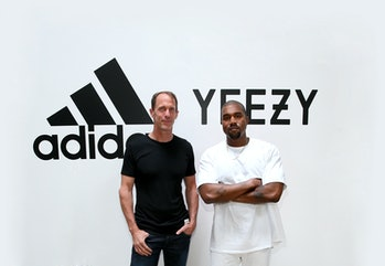 HOLLYWOOD, CA - JUNE 28:  (L-R) adidas CMO Eric Liedtke and Kanye West at Milk Studios on June 28, 2...