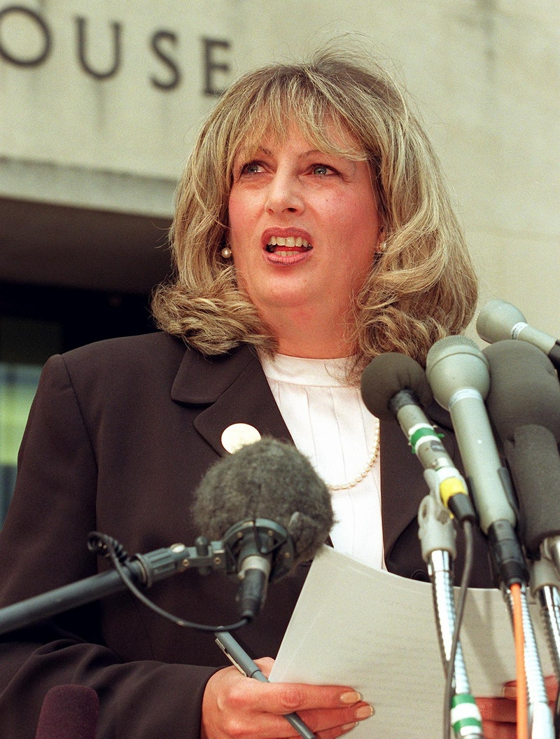 Linda Tripp talks to reporters outside of the Federal Courthouse 29 July in Washington, DC.