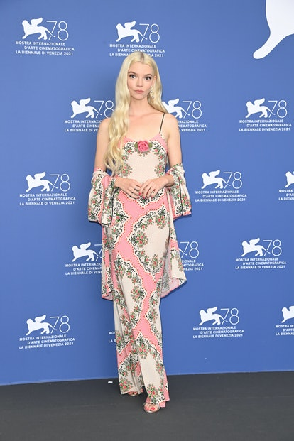 """VENICE, ITALY - SEPTEMBER 04: Anya Taylor-Joy attends the photocall of """"Last Night In Soho"""" during t..."""