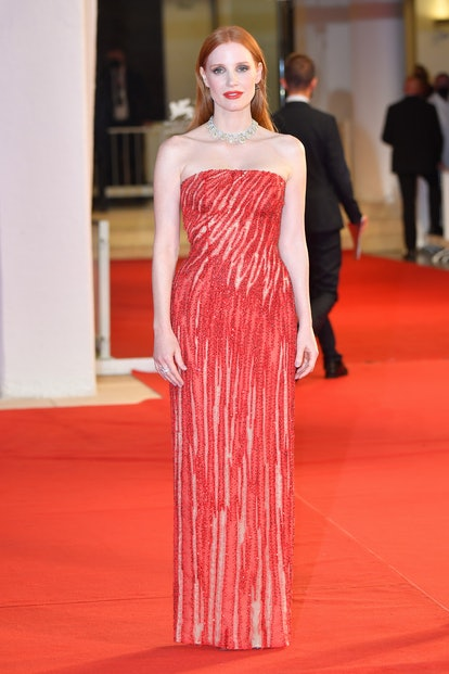 """VENICE, ITALY - SEPTEMBER 04: Jessica Chastain attends the red carpet of the movie """"Scenes From a Ma..."""